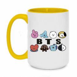 Кружка двоколірна 420ml Bts emoji
