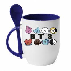 Кружка з керамічною ложкою Bts emoji
