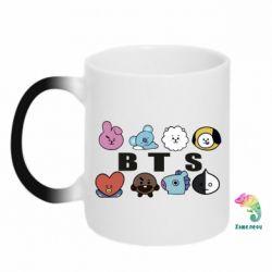 Кружка-хамелеон Bts emoji