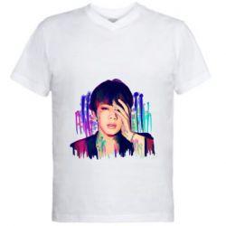 Мужская футболка  с V-образным вырезом Bts Jin