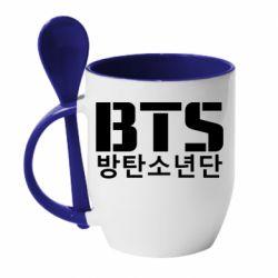 Кружка с керамической ложкой Bts logo