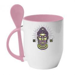 Кружка с керамической ложкой Будда