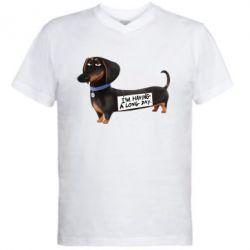 Мужская футболка  с V-образным вырезом Buddy - FatLine