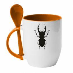 Кружка с керамической ложкой Bugs silhouette