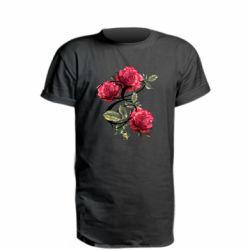 Удлиненная футболка Буква Е с розами