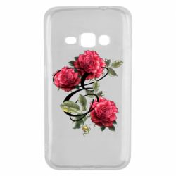 Чехол для Samsung J1 2016 Буква Е с розами
