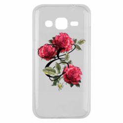 Чехол для Samsung J2 2015 Буква Е с розами