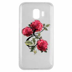 Чехол для Samsung J2 2018 Буква Е с розами