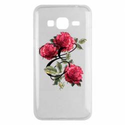Чехол для Samsung J3 2016 Буква Е с розами