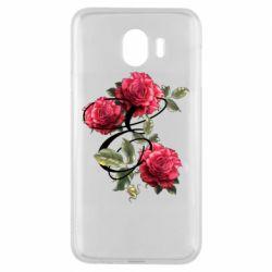 Чехол для Samsung J4 Буква Е с розами