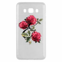 Чехол для Samsung J5 2016 Буква Е с розами