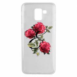 Чехол для Samsung J6 Буква Е с розами
