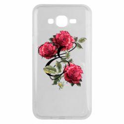 Чехол для Samsung J7 2015 Буква Е с розами