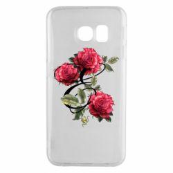 Чехол для Samsung S6 EDGE Буква Е с розами