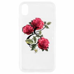 Чехол для iPhone XR Буква Е с розами