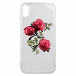 Чехол для iPhone Xs Max Буква Е с розами