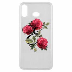 Чехол для Samsung A6s Буква Е с розами