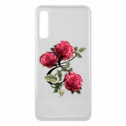 Чехол для Samsung A7 2018 Буква Е с розами