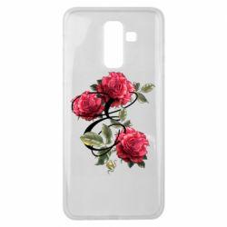 Чехол для Samsung J8 2018 Буква Е с розами