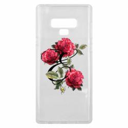 Чехол для Samsung Note 9 Буква Е с розами