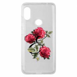 Чехол для Xiaomi Redmi Note 6 Pro Буква Е с розами