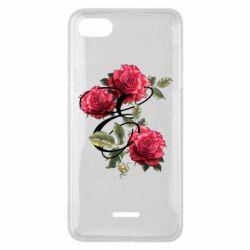 Чехол для Xiaomi Redmi 6A Буква Е с розами