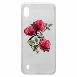 Чехол для Samsung A10 Буква Е с розами