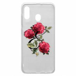 Чехол для Samsung A30 Буква Е с розами