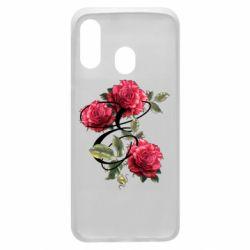 Чехол для Samsung A40 Буква Е с розами