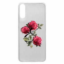 Чехол для Samsung A70 Буква Е с розами