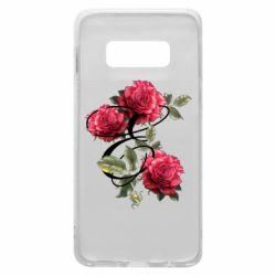 Чехол для Samsung S10e Буква Е с розами