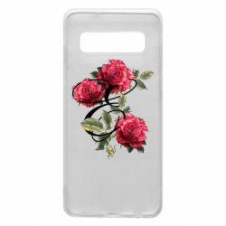 Чехол для Samsung S10 Буква Е с розами