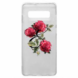 Чехол для Samsung S10+ Буква Е с розами