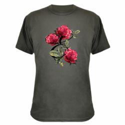 Камуфляжная футболка Буква Е с розами