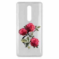 Чехол для Xiaomi Mi9T Буква Е с розами
