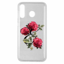 Чехол для Samsung M30 Буква Е с розами