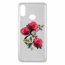 Чехол для Samsung A10s Буква Е с розами