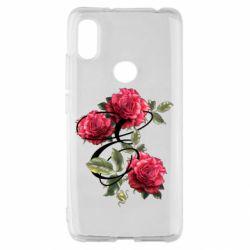 Чехол для Xiaomi Redmi S2 Буква Е с розами