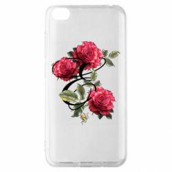 Чехол для Xiaomi Redmi Go Буква Е с розами