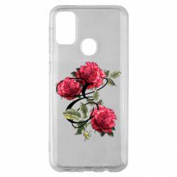 Чехол для Samsung M30s Буква Е с розами