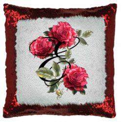 Подушка-хамелеон Буква Е с розами