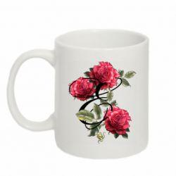 Кружка 320ml Буква Е с розами