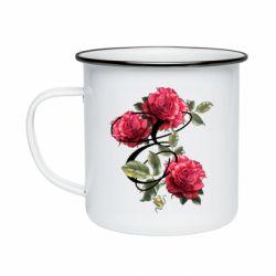 Кружка эмалированная Буква Е с розами