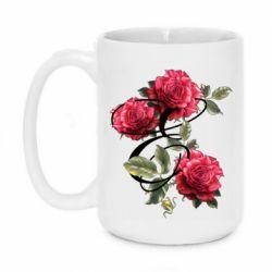 Кружка 420ml Буква Е с розами