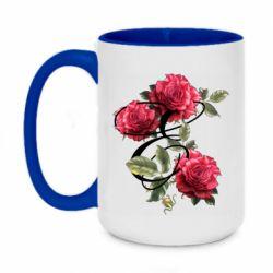 Кружка двухцветная 420ml Буква Е с розами