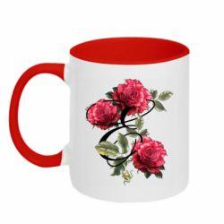Кружка двухцветная 320ml Буква Е с розами