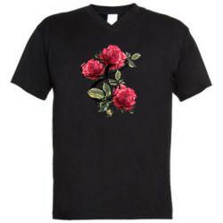 Мужская футболка  с V-образным вырезом Буква Е с розами