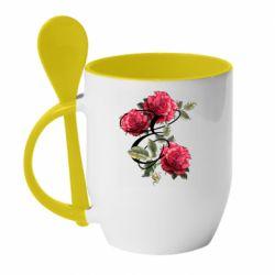 Кружка с керамической ложкой Буква Е с розами