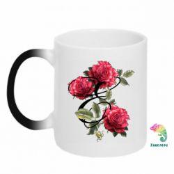 Кружка-хамелеон Буква Е с розами