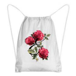 Рюкзак-мешок Буква Е с розами